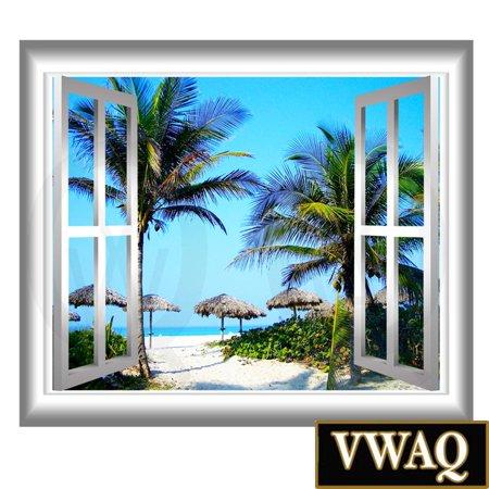 vwaq 3d beach wall decals palm tree wall sticker peel and stick