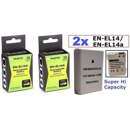 2 Pcs (Qty 2) Hi Capacity EN-EL14a Li-Ion Rechargeable Battery for Nikon