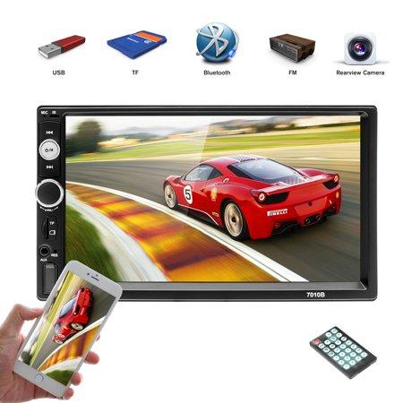 Podofo 7 Inch 2 Din HD1080P Car MP5 Player Stereo Bluetooth Multimedia MP5 Player Digital Touchscreen Radio With USB Port, Aux Input, Power Charger For Mobile