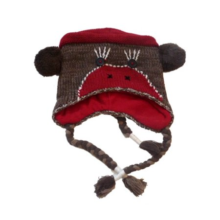 Womens Brown Knit Sock Monkey Peruvian Style Trapper - Adult Sock Monkey Hat
