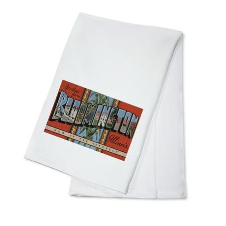 Greetings from Bloomington, Illinois (Red) (100% Cotton Kitchen Towel) (Party City Bloomington Illinois)