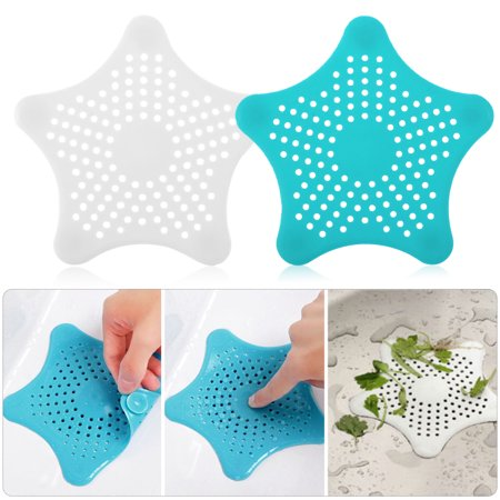 TSV Bathroom Drain Hair Catcher Bath Stopper Plug Sink Strainer Filter Shower Covers White+Blue (Tub Shower Drain Covers)