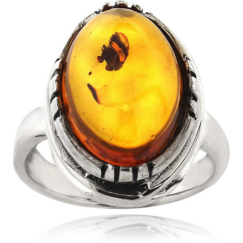 Amber Nights Sterling Silver Oval Ring