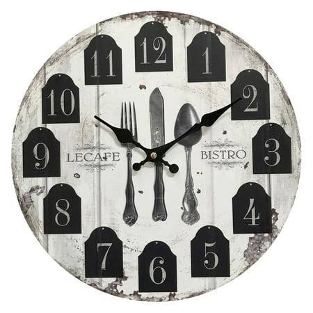 LeCafe Bistro Wooden Clock; Diameter: 13.5