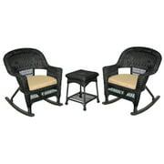 "3-Piece Tiana Black Resin Wicker Patio Rocker Chair & Table Furniture Set with Tan Cushions 36"""