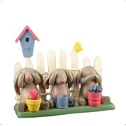 Springhaven Lake Figurine 3 Bunnies and a Fence by Russ