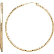 Simply Gold 10kt Yellow Gold 1.8x47mm Round Tube Hoop Earrings