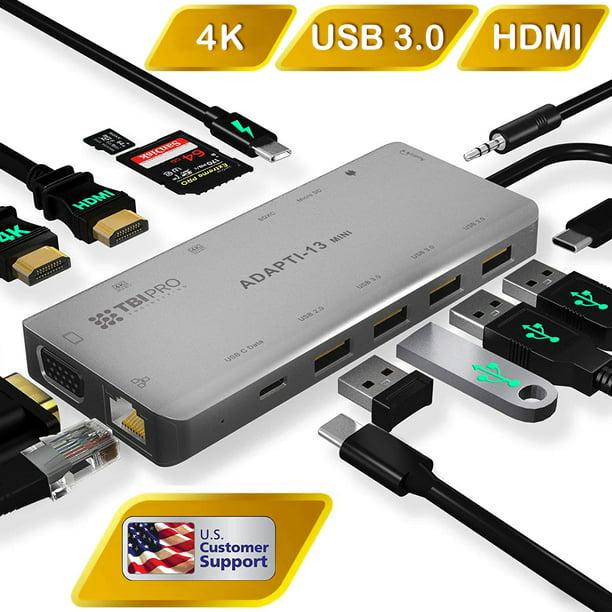 USB C Hub 3.0 with Triple Display 2X HDMI, 4K, Type-C 100W...