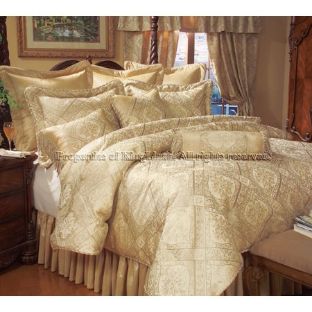 14 Queen Gold Imperial Comforter set w/ Curtain Set