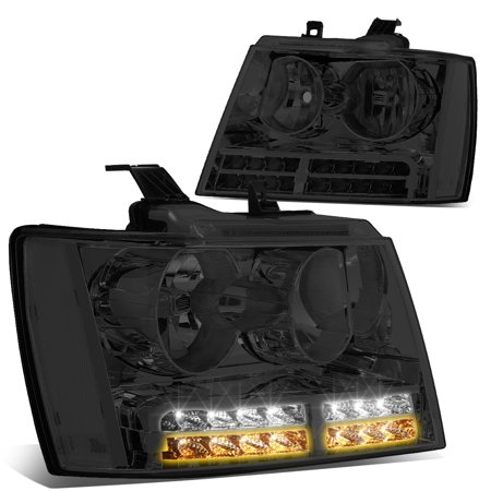 For 2007 to 2014 Chevy Tahoe Suburban Avalanche LED DRL+Turn Signal Projector Headlight Lamps Smoked Lens Clear Corner 08 09 10 11 12 13 Chevy Suburban Turn Signal