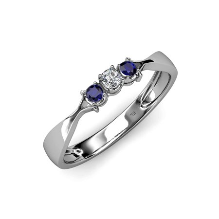 - Blue Sapphire and Diamond (SI2-I1, G-H) Three Stone Ring 0.16 ct tw in 14K White Gold.size 7.5