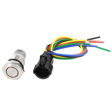 DC 12V 16mm Tête plate ronde LED rouge 5 broches pour l'interrupteur à bouton-poussoir AUTO Voiture - image 3 de 3