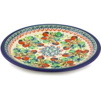Polish Pottery 9½-inch Salad Plate (Red And Green Berries Theme) Hand Painted in Boleslawiec, Poland + Certificate of Authenticity