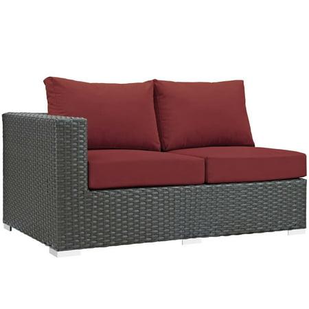 Modern Contemporary Urban Design Outdoor Patio Balcony Garden Furniture Lounge Loveseat Sofa, Sunbrella Rattan Wicker, Red