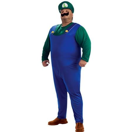 Super Mario Bros Luigi Costume Adult Men Plus