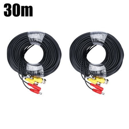 FLOUREON 100ft BNC Video Male DC Power Jack Male/Female Extension Cable for CCTV Security Surveillance Cameras (2 Pack,Black)