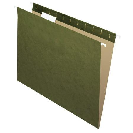 School Smart Hanging File Folder, Letter, 1/5 Cut Tabs, Standard Green, Pack of (1/5 Tab Cut Letter)