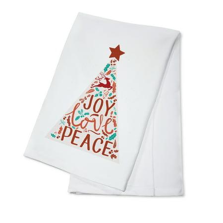 Joy Love Peace - Christmas Tree (100% Cotton Kitchen Towel)