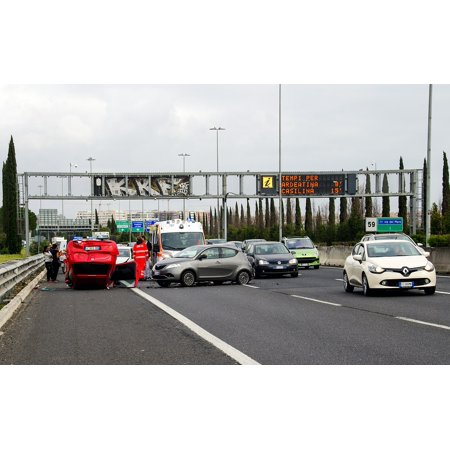 Canvas Print Car Accident Rome Highway Clash Stretched Canvas 10 x 14