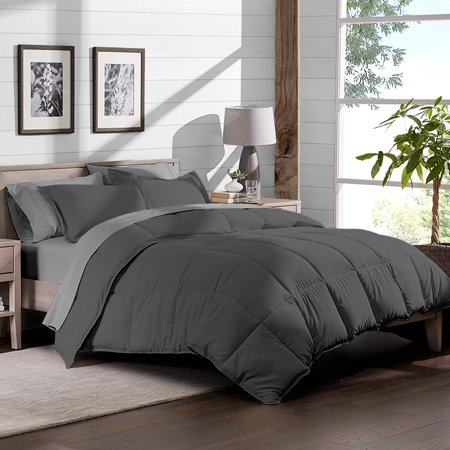 - 7-Piece Bed-In-A-Bag - Full XL (Comforter Set: Grey, Sheet Set: Light Grey)
