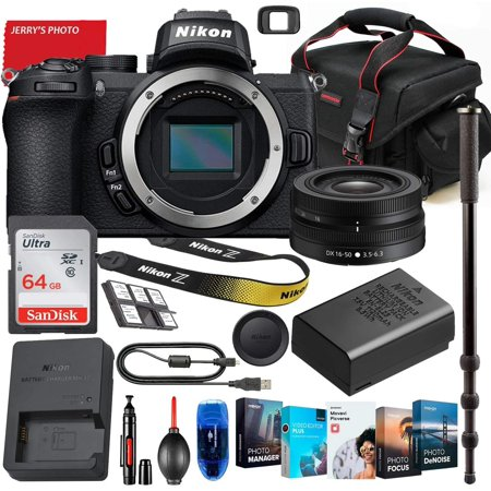 Nikon Z50 Mirrorless Digital Camera with Nikon Z DX 16-50mm Lens Bundle + Premium Accessory Bundle Including 64GB Memory, Photo/Video Software Package, Shoulder Bag & More
