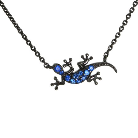 Plated Gecko - Dainty Sterling Silver Gecko Necklace Blue CZ Micropave Black Rhhodium Plated 3/4 inch (18mm) wide