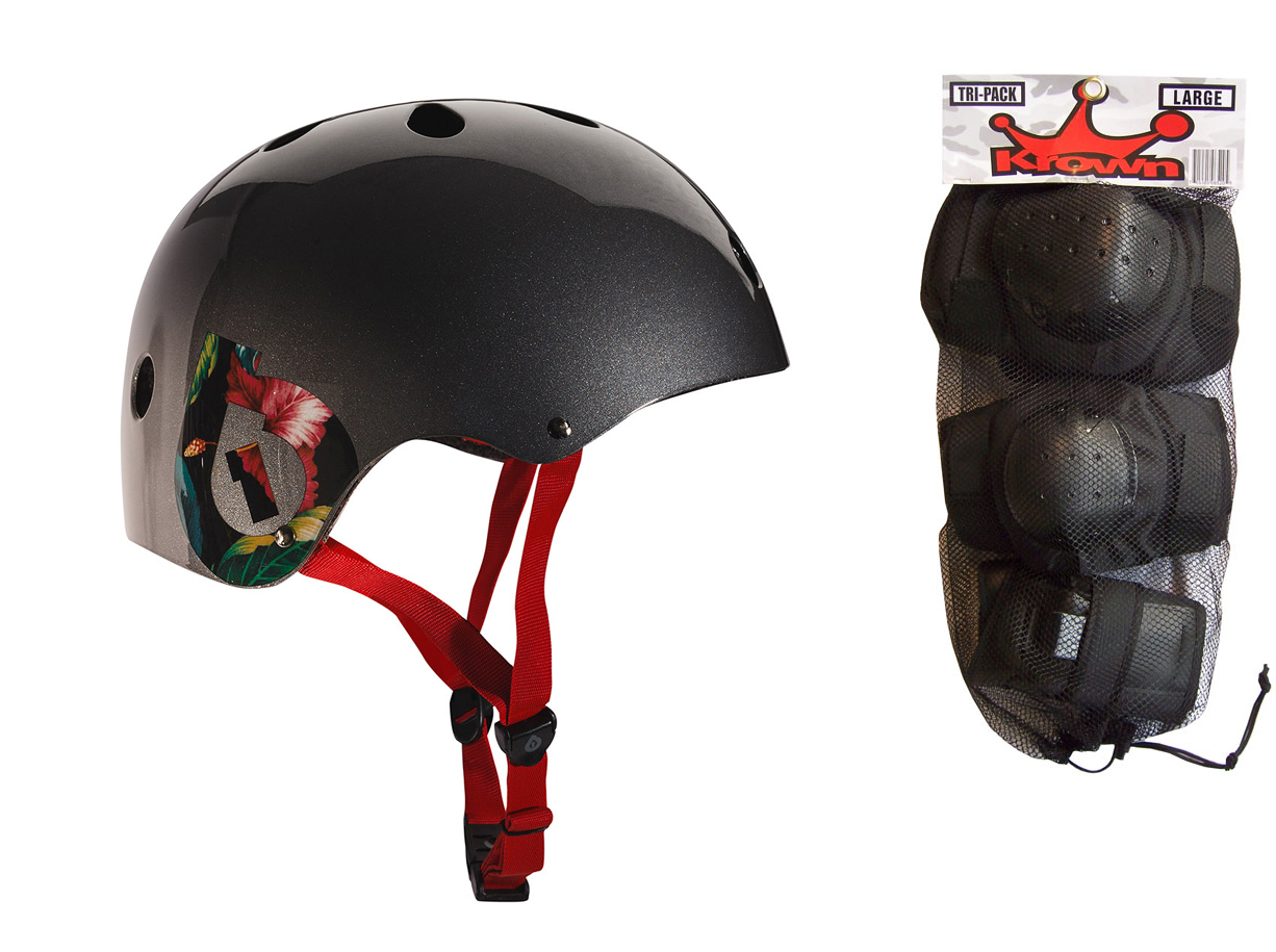 661 Dirt Lid Plus Skate BMX Helmet Grey CPSC with Knee Elbow Wrist Pads Large by