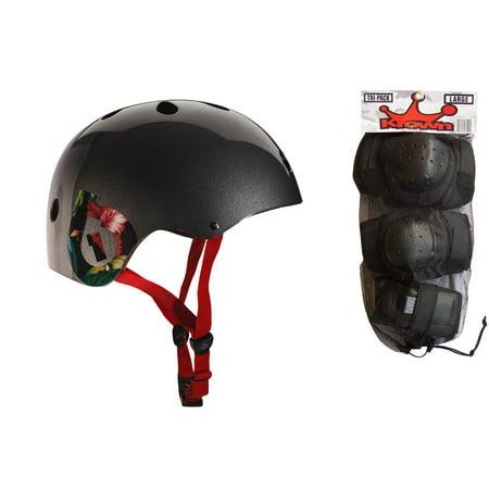 661 Dirt Lid Helmet - 661 Dirt Lid Plus Skate BMX Helmet Grey CPSC with Knee Elbow Wrist Pads Large