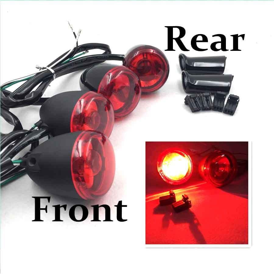 Red LED Lens 3 Wires Black Billet  Brake Turn Signal Indicator Lights Motorcycle