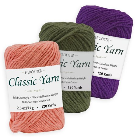 Cotton Yarn - 3 Solid Colors [2.5 oz Each] - Pink Taffy, Green Khaki, Purple Royal - Worsted/Medium Weight - Assortment for Knitting, Crochet, Needlework, Decor, Arts & Crafts Projects