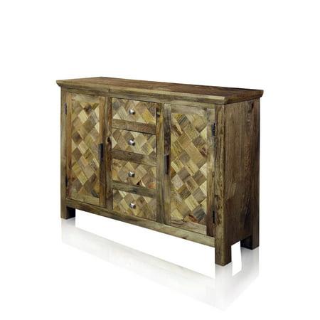 Diagonal Wood (Two-Door Four-Drawer Diagonal Parquets Wood Sideboard - Natural Honey Finish )