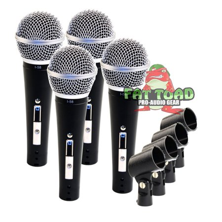 Cardioid Microphones with Clips (4 Pack) by Fat Toad Vocal Handheld, Unidirectional Mic Singing Microphone Designed for Music Stage Performances & Studio Recording or PA DJ Karaoke