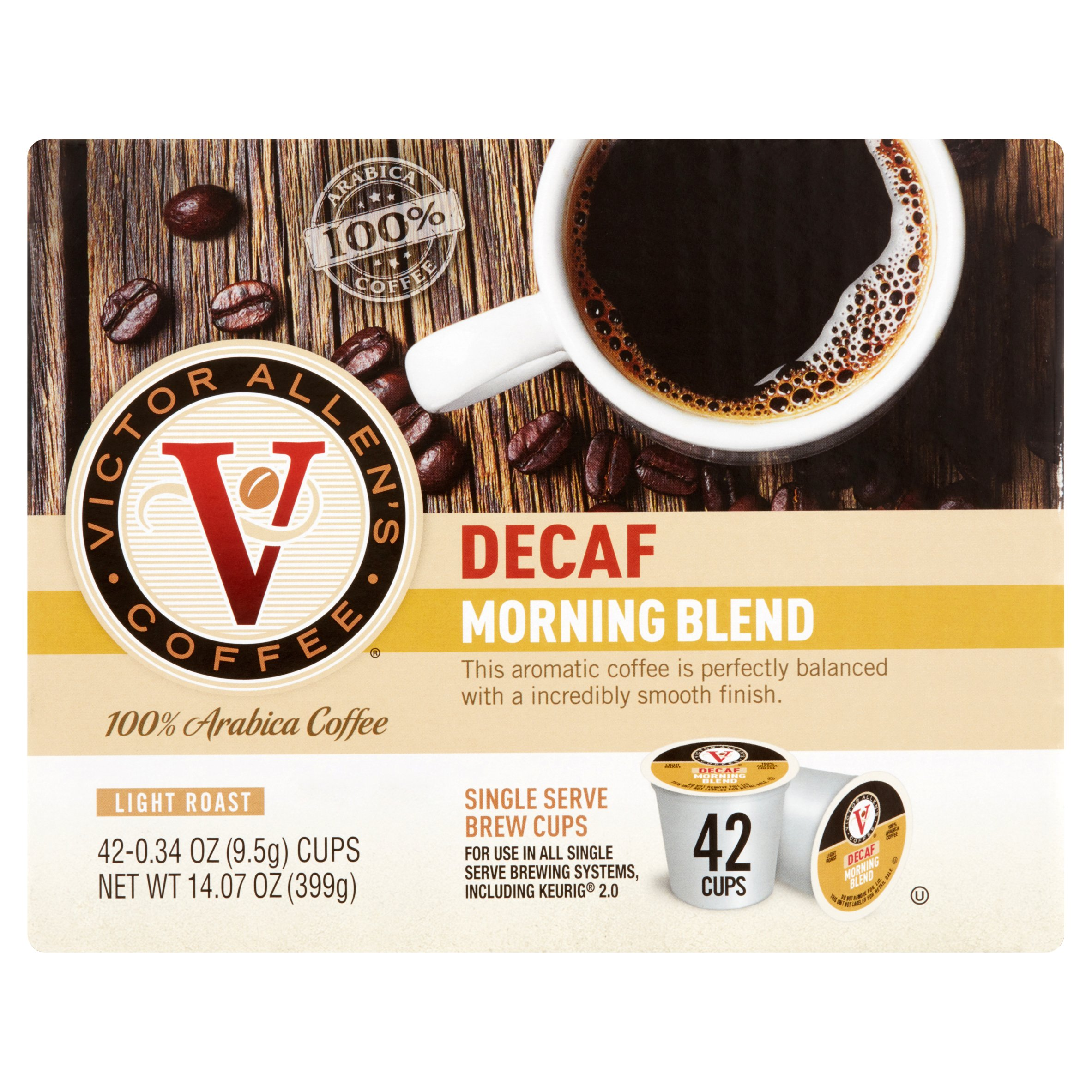 Victor Allen's Coffee Morning Blend Decaf Light Roast 100% Arabica Coffee, 0.34 oz, 42 count