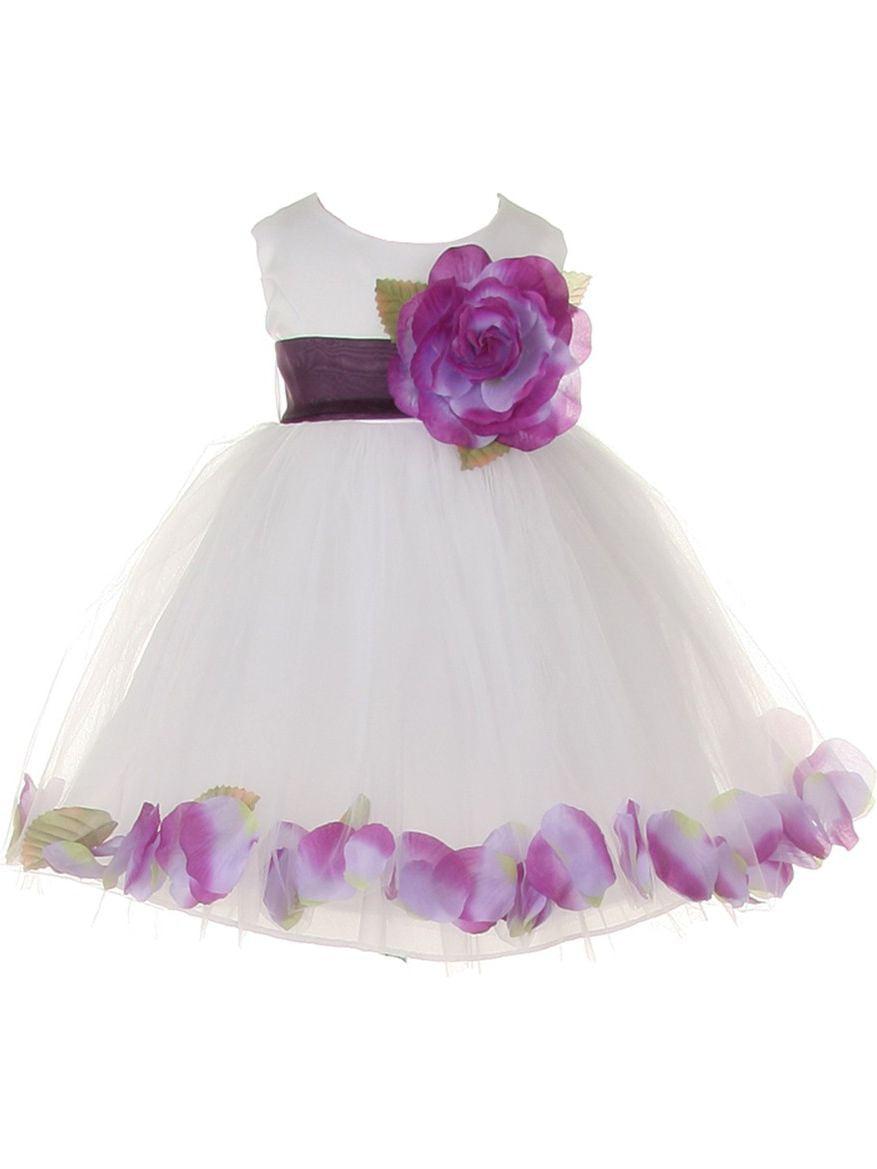 Baby Girls White Lavender Petal Adorned Satin Tulle Flower Girl Dress 6-24M