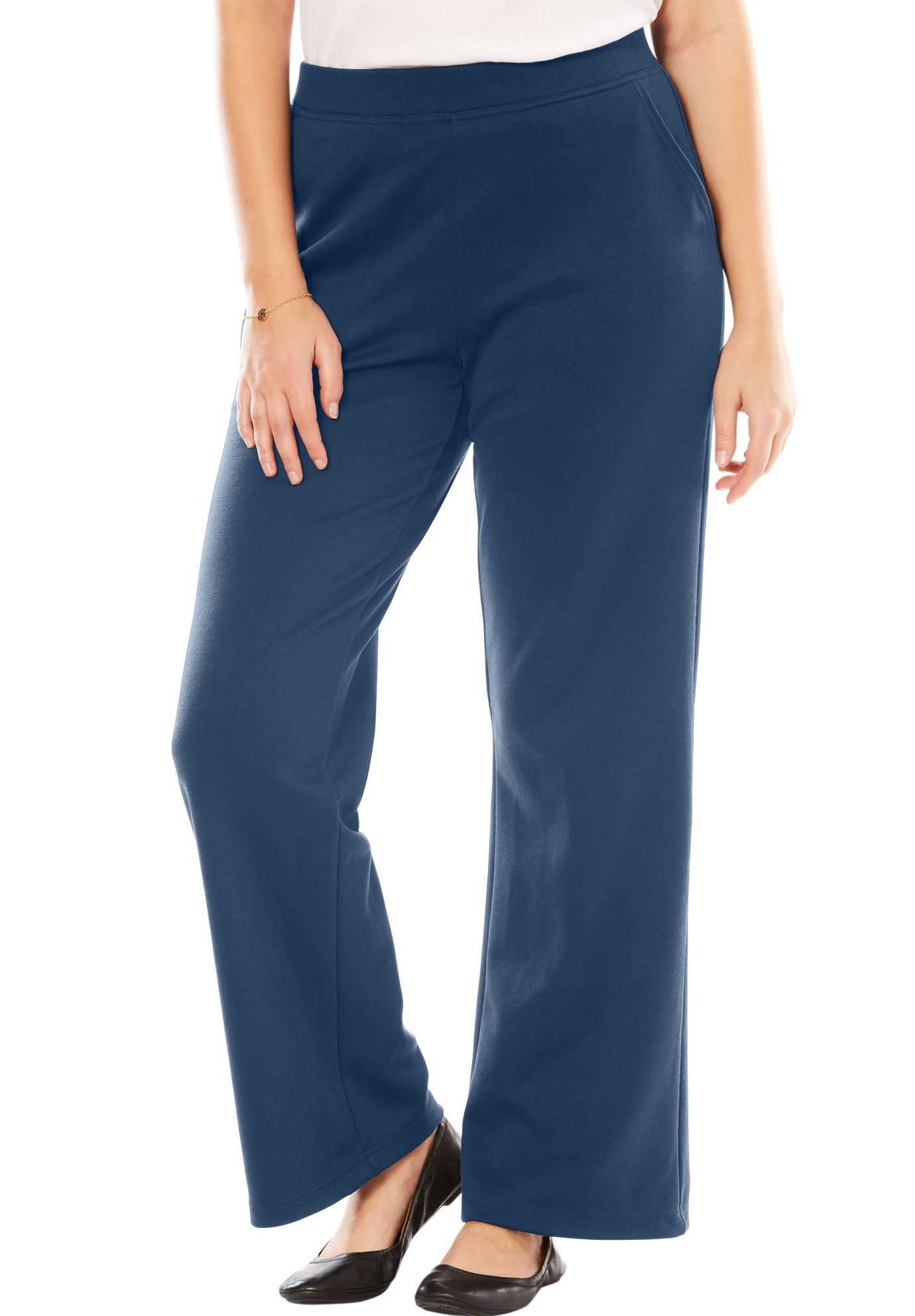 Woman Within Plus Size Tall Wide Leg Ponte Knit Pant