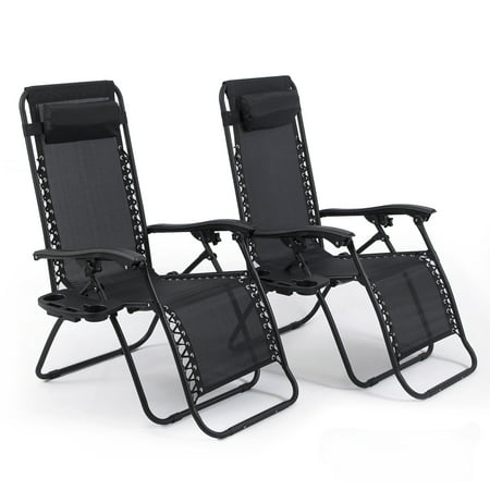 Amazing Belleze Set Of 2Pc Zero Gravity Chair Lounge Chairs Pillow Uv Recliner Chairs W Cup Holder Tray Black Andrewgaddart Wooden Chair Designs For Living Room Andrewgaddartcom