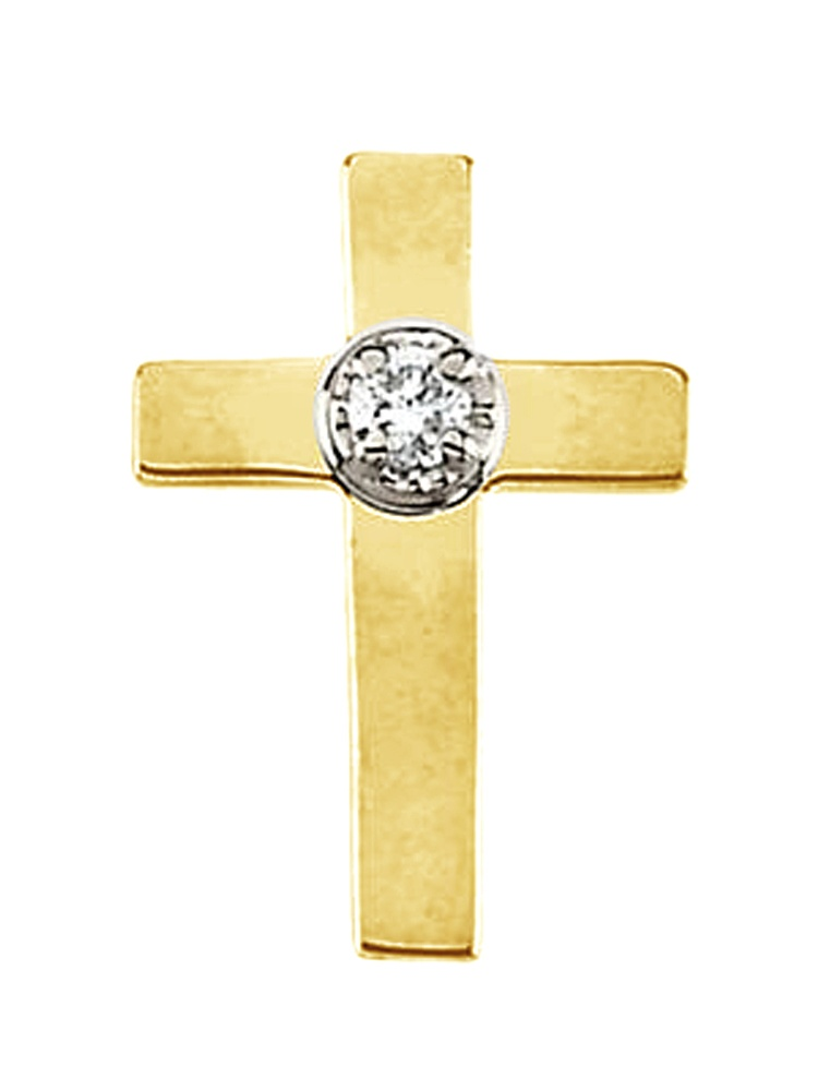 14K White And Yellow Gold White Diamond Simple Latin Cross Pin Broach by