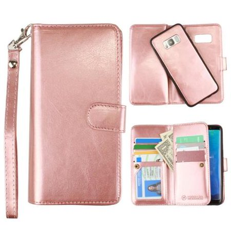 Galaxy S8 Plus Wallet Case, Slim PU Leather with Matching Detachable Flip Cover with Credit Card Holder Wristlet for Women [Classic Multi-Card - Rose Gold]