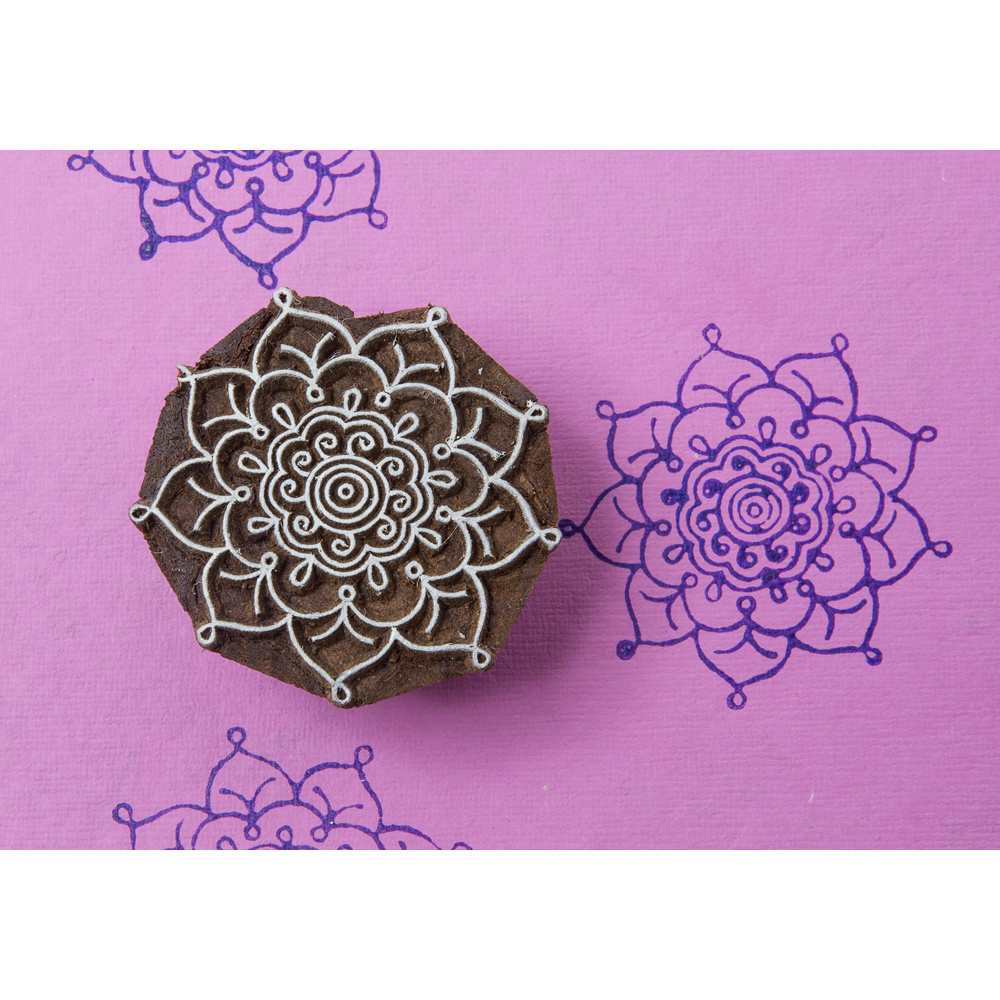 Blockwallah Block Stamp-Intricate Flower Multi-Colored