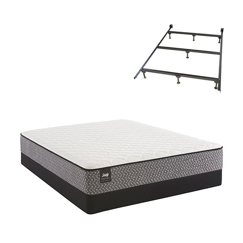 Bernstein Queen Size Firm Tight Top Mattress and Low Profile Box Spring Set with Frame Sealy Response Essentials... by Sealy