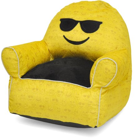 Emoji Pals Soft Faux Fur Kids Sofa Bean Bag Chair Multiple Patterns