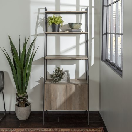 Manor Park Urban Industrial Metal and Wood 4-Shelf Ladder Bookcase with Storage Cabinet - Grey - Wash Wood Cabinets
