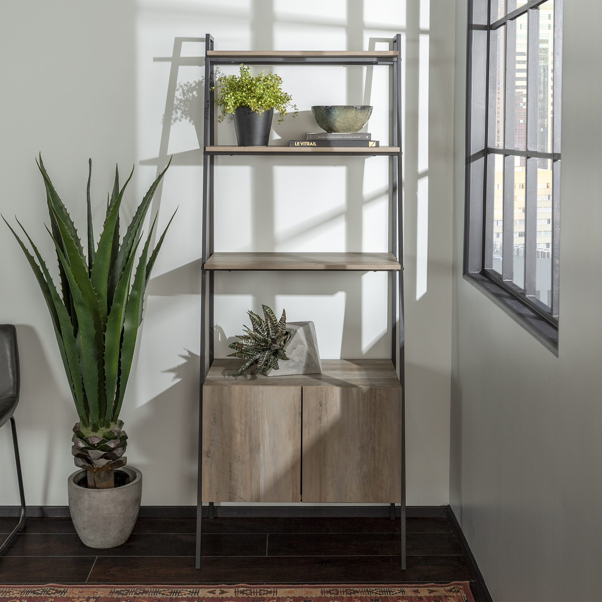Manor Park Urban Industrial Metal and Wood 4-Shelf Ladder Bookcase with Storage Cabinet - Grey Wash