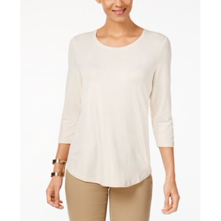 JM Collection Petite Three-Quarter-Sleeve Sc Champagne Shimmer PXL