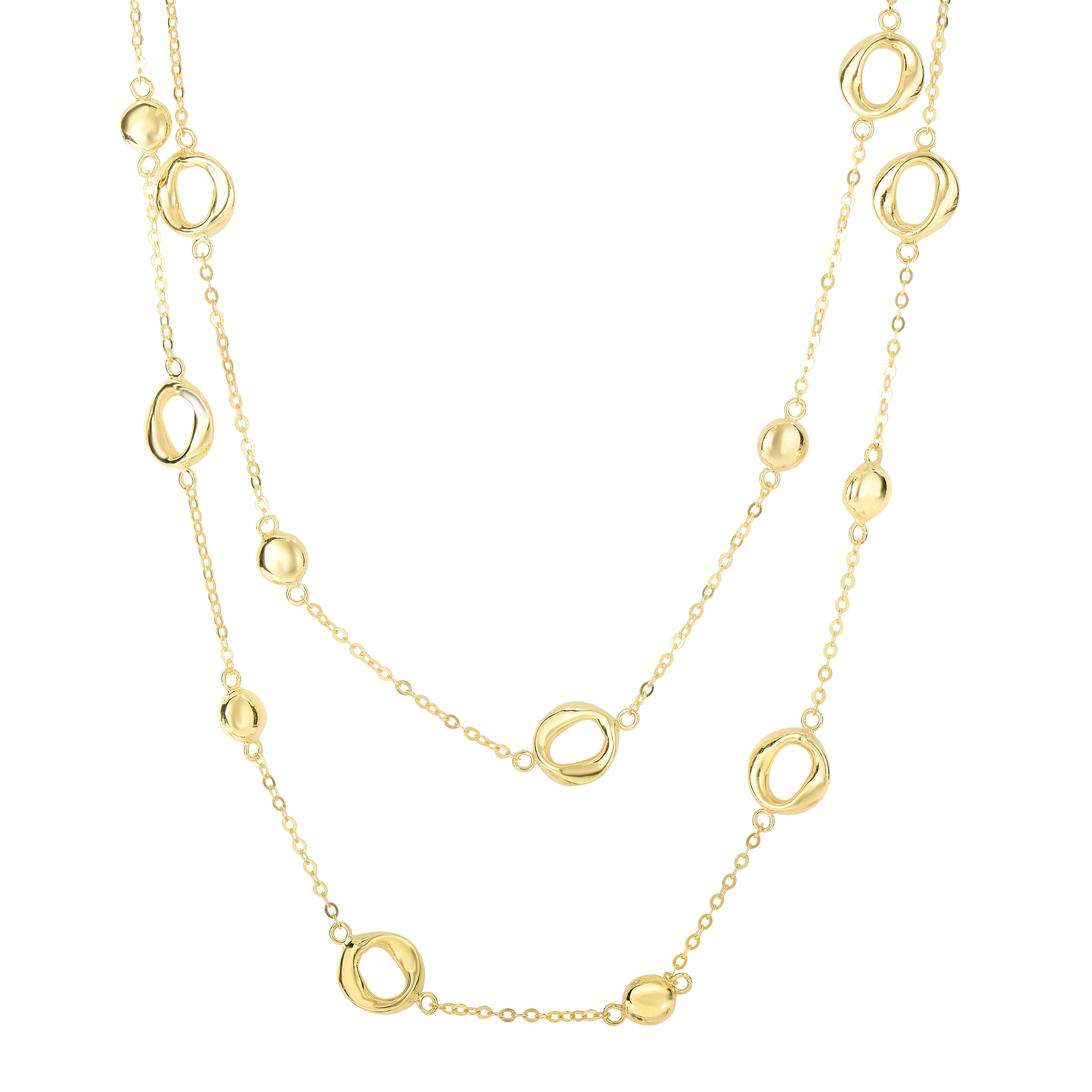 14K Yellow Gold 9.8-1.6mm Shiny Round Puff Circle+Twisted Open Oval On Single Into Double Drop Piatto Type Fancy... by Goldia