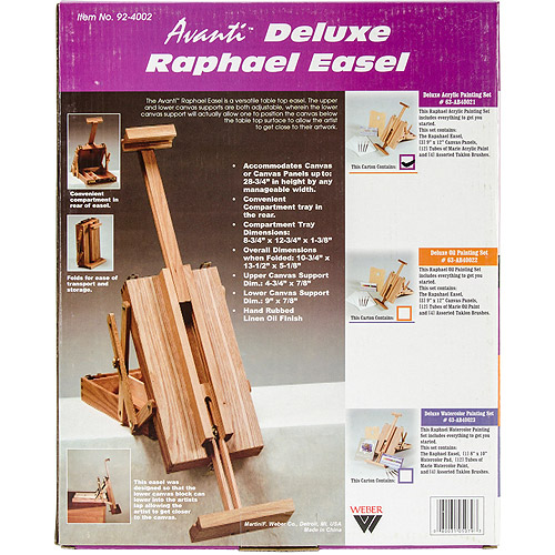 Raphael Deluxe Table Top Easel with Acrylic Color Set, Natural