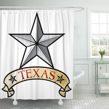PKNMT Silver State Texas Lone Star Symbol Cowboy Country Emblem Shower Curtain 60x72 inches