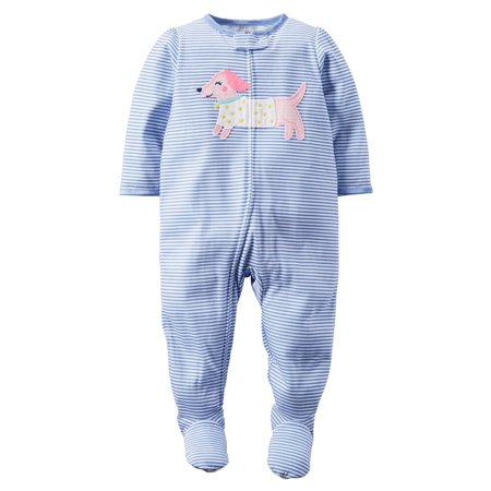 Carters Baby Clothing Outfit Girls 1-Piece Footed Pajamas Puppy Periwinkle Stripe