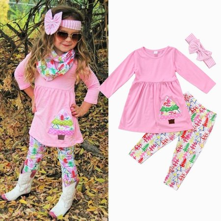 Fashion Toddler Kids Baby Girls Christmas Outfit Clothes Tops T Shirt+Long Pants Set