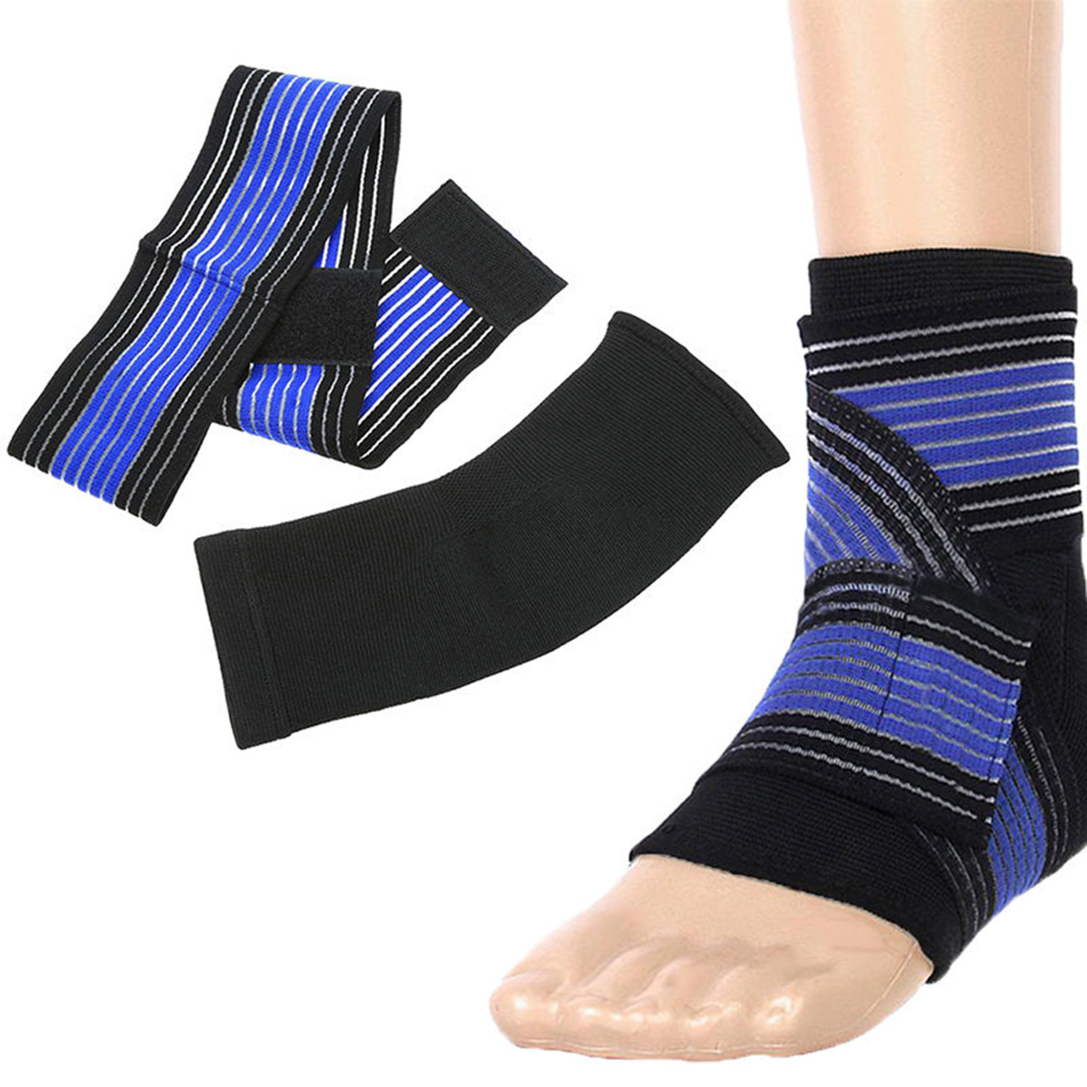 OUTERDO Ankle Foot Elastic Compression Wrap Sleeve Bandage Brace Support Protection Bule,Blue color